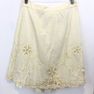Anthropologie cordelia  Midi embroidered skirt